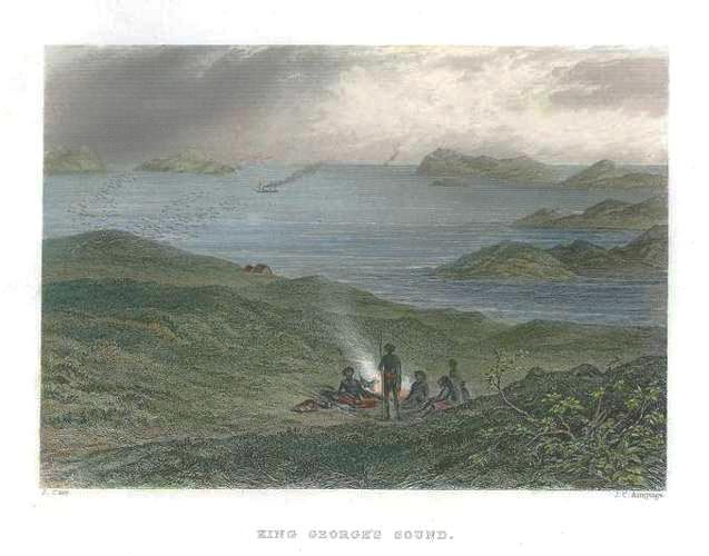 King George's Sound, Western Australia original engraving c1874