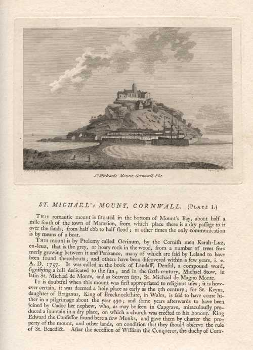 Grose engraving of St Michael's Mount, Cornwall - Plate 1 c1787