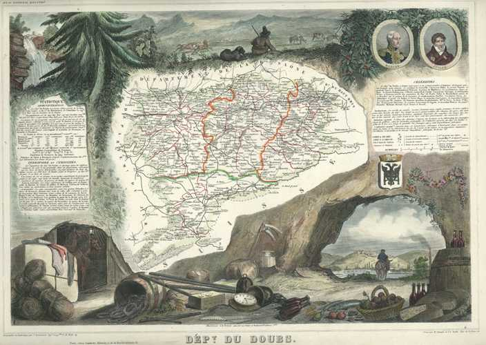 Doubs Department antique map of France by Victor Levasseur c1854