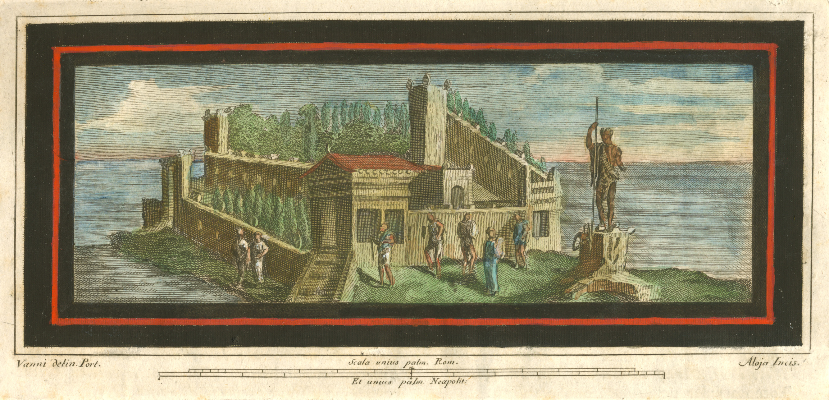 Grand building on a headland. Herculaneum Antiquities c1757