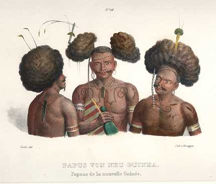 PNG New Ireland. Papus von Neu-Guinea. Papuans of New Guinea c1825