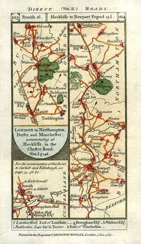 Road Maps: Penrith, Hockliffe to Newport Pagnel. Paterson's British Itinerary. c1785.