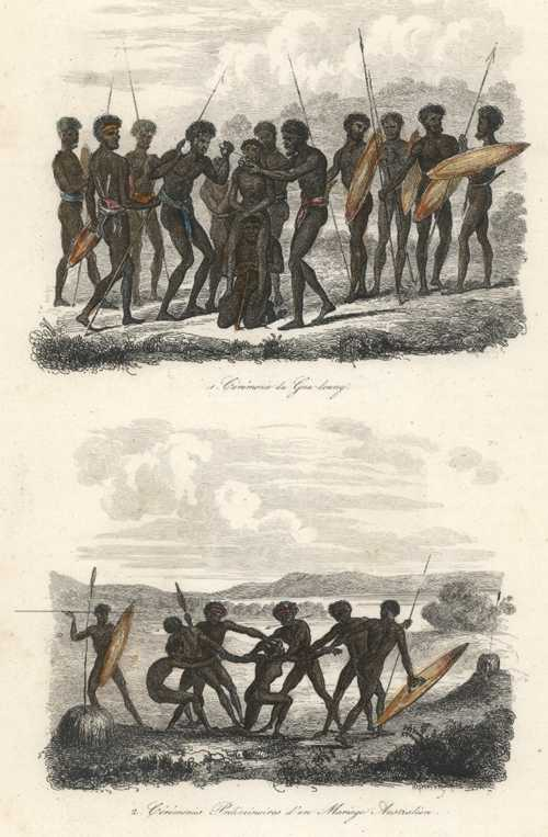 Aborigines. Marriage Ceremony. Ceremonie de Gna-loung.. D'Urville c1834