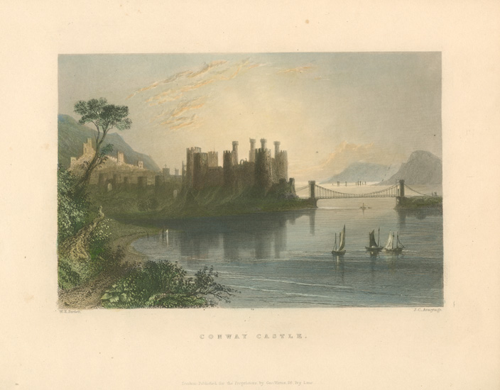 Conway Castle. Fine Bartlett view engraved by Armytage.c1840.