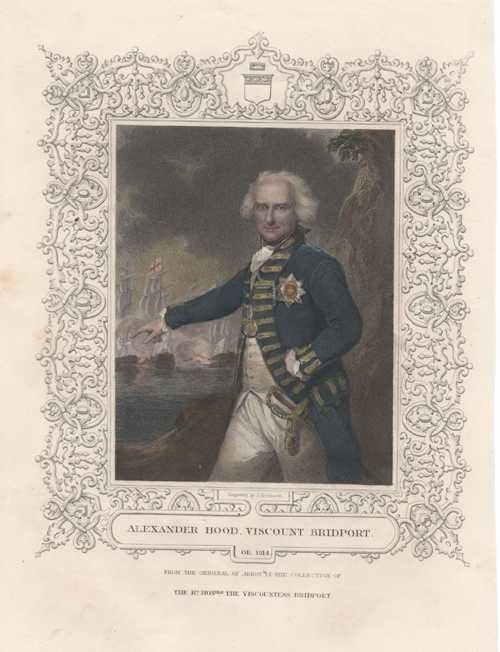 Naval Portrait. Alexander Hood, Viscount Bridport. Tallis antique print c1853