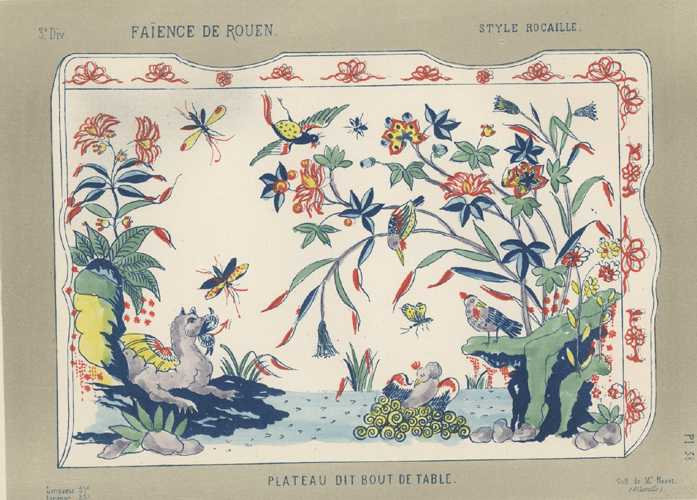 Faience Porcelain Plateau dit Bout de Table. Antique print c1870