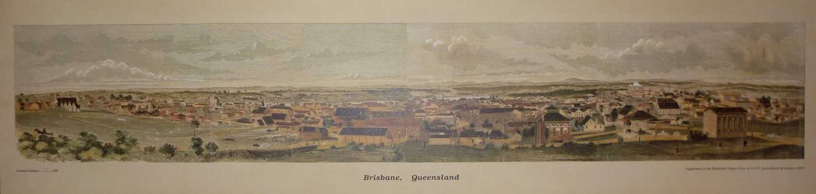Brisbane, Queensland circa 1885. Limited Edition long panorama of Brisbane