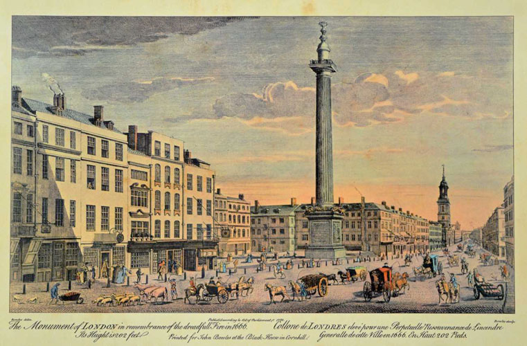 The Monument of London in remembrance of dreadful fire in 1666.