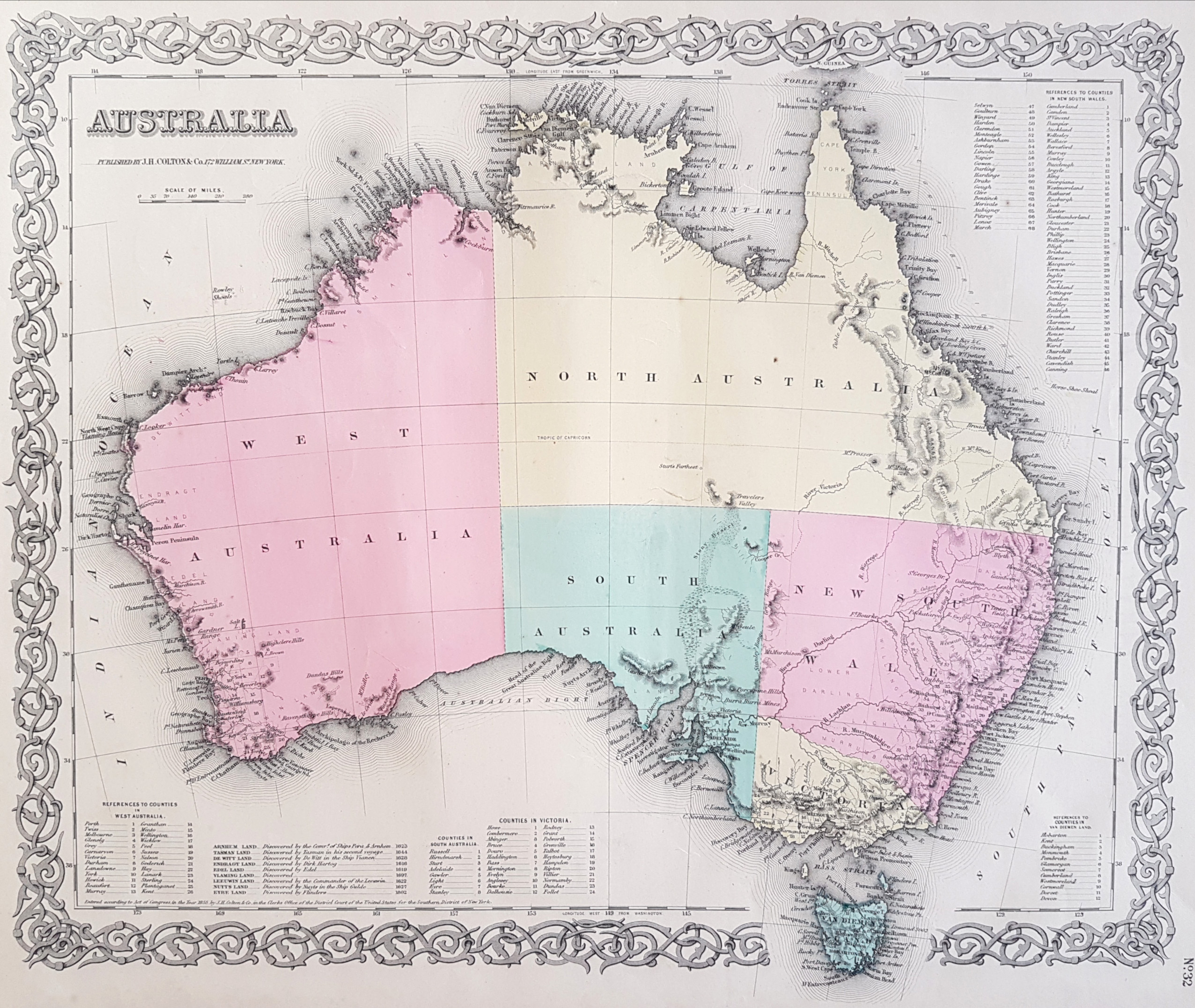 First Edition Colton's Australia antique map c1855.
