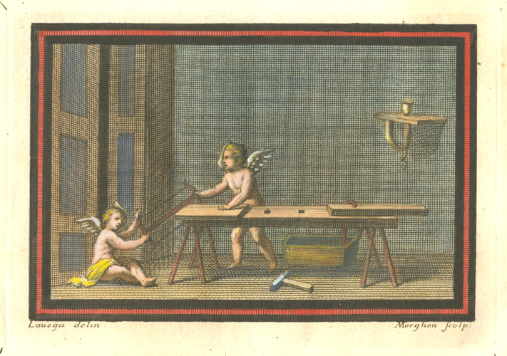 Pompeii Putti Carpenters using saw at bench c1757