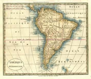 South America French antique map. Amerique Meridionale. Vosgien c1828