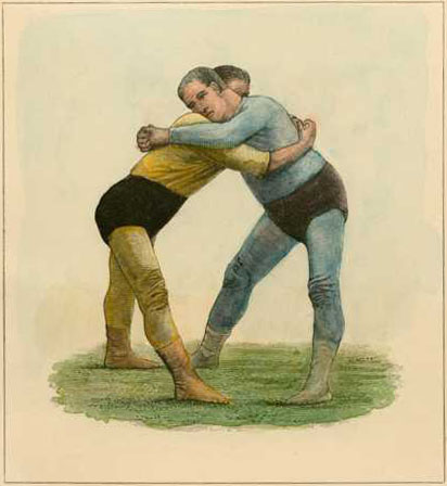 Wrestling.. or Just Good Friends? Badminton engraving c1890
