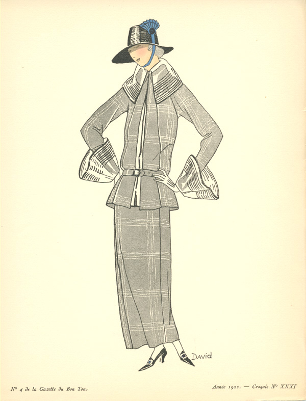 Half-price 1920s Fashion Sketch 31, Croquis XXI pochoir.
