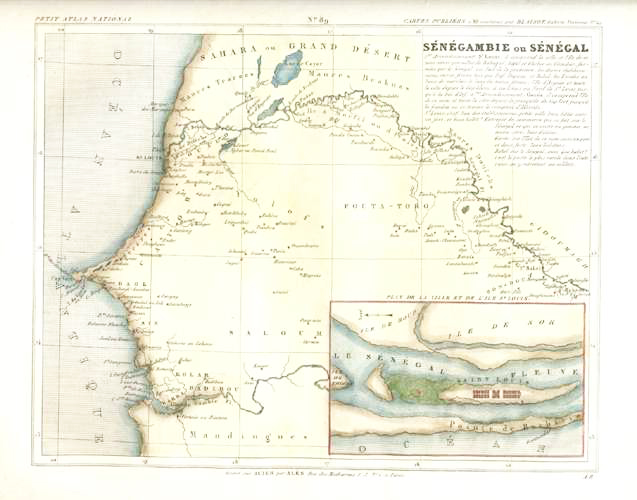 Half Price: Senegambie ou Senegal Antique Map c1833 by Charles Monin.
