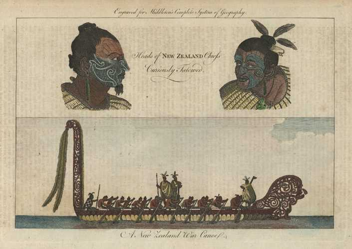 N.Z. Heads of New Zealand Chiefs Curiously Tatowed. Middleton c1777.