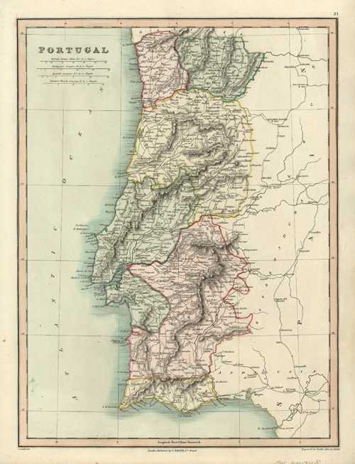 Portugal. Fine hand-color Antique Map by C. Smith c1836