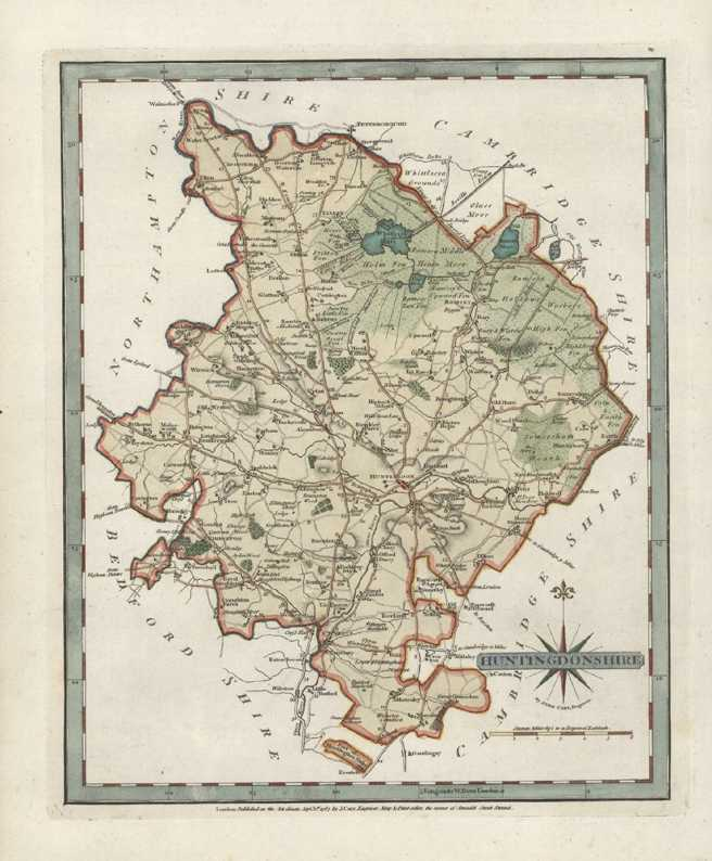 Huntingdonshire Antique Map. County Map by John Cary c1787