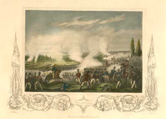 Battle at Talavera, Spanish Peninsula War. Tallis engraving c1856