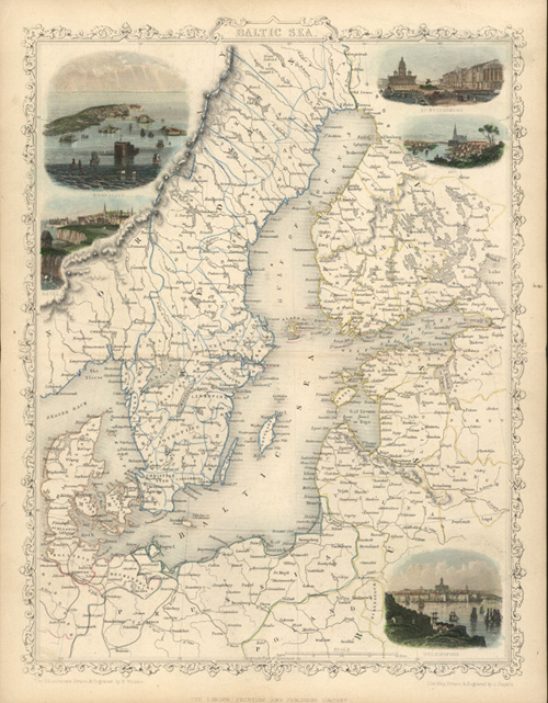 Baltic Sea antique map with Sweden, Denmark, Finland, Russia.. c1854