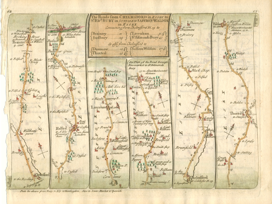 18thC Roads from Chelmsford to St.Edmunds Bury; Chelmsford to Dunmow and Waldon c1757