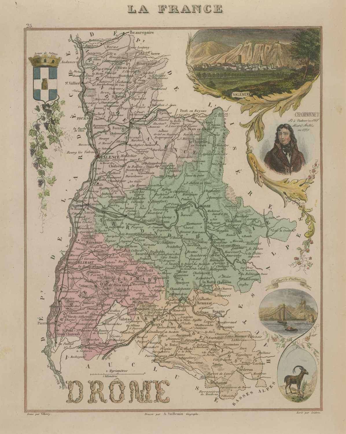 Drome French Department antique map by Vuillemin c1875