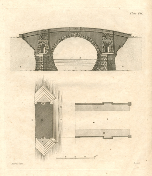 Early English Stone Bridge. Half-price engraving. John Carter c1800