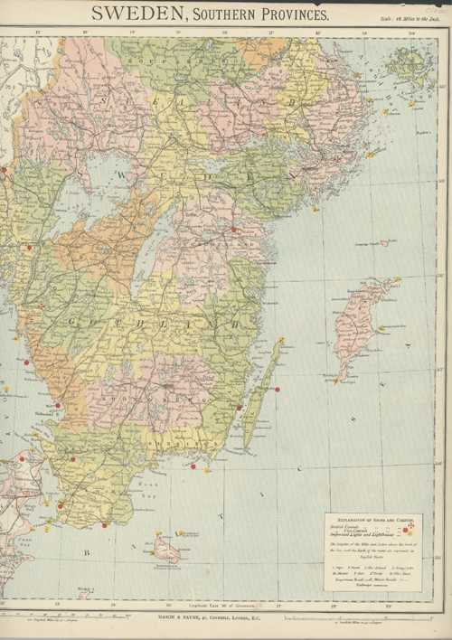 Sweden, Southern Provinces. Mason & Payne Antique Map circa 1880