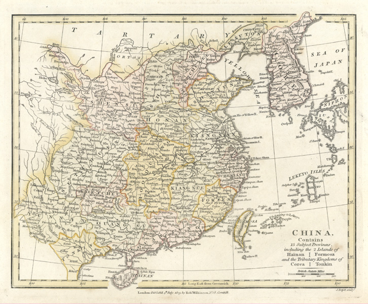 CHINA. 15 Provinces including Hainan, Formosa, Corea, Tonkin. Wilkinson c1809