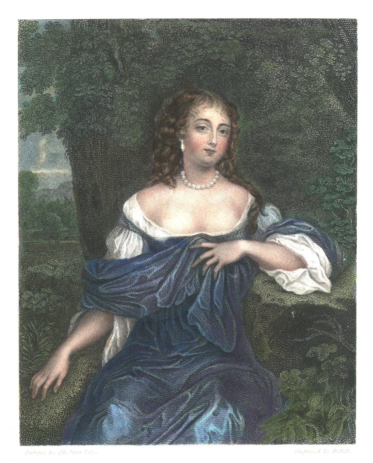 Countess of Southesk. Sir Peter Lely portrait. Engraved c1838.