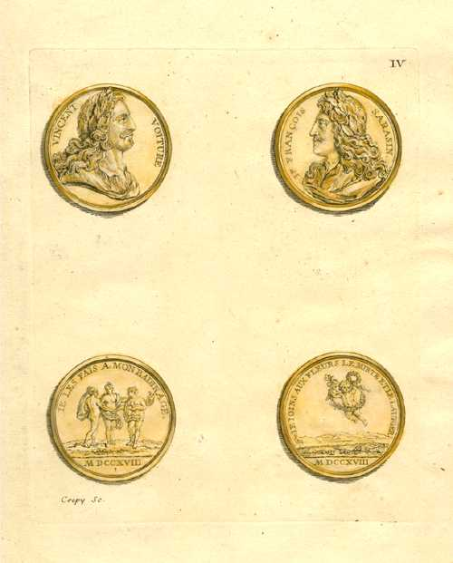 Antique print of commemorative medallions. Plate 4 c1775.