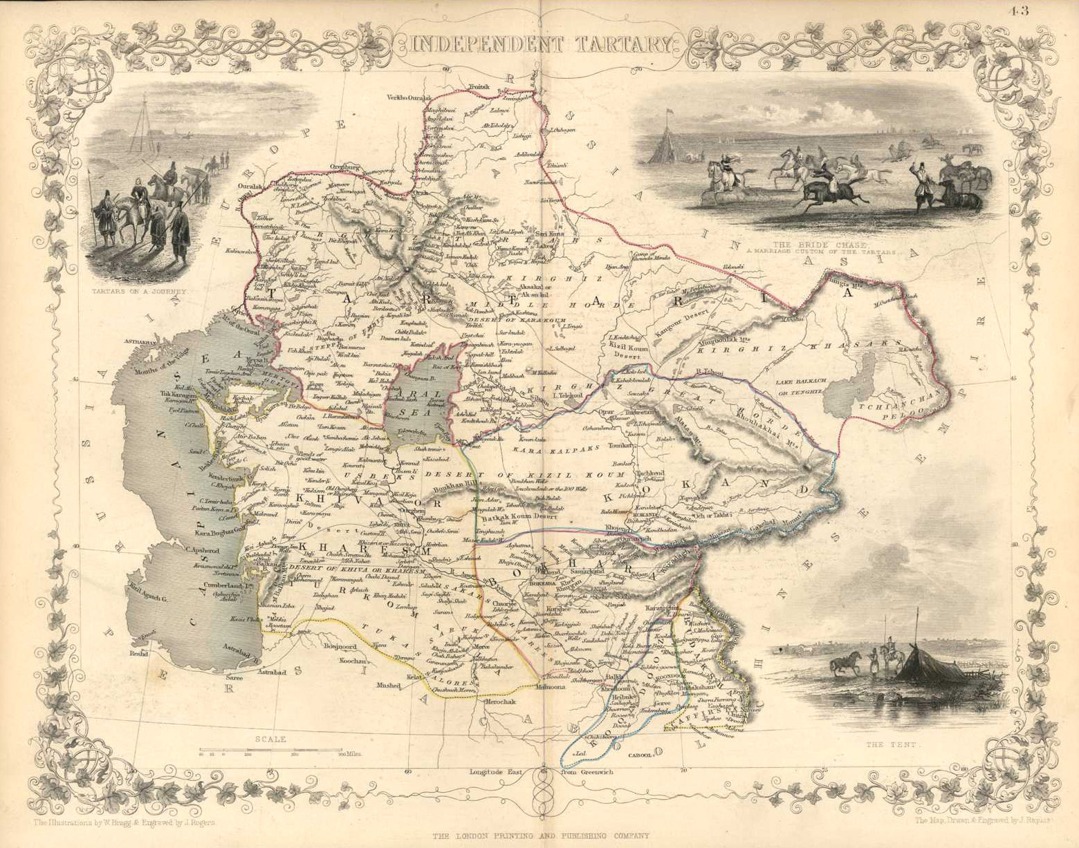 Independent Tartary antique map (Tartars, Bride Chase & Tent). c1854