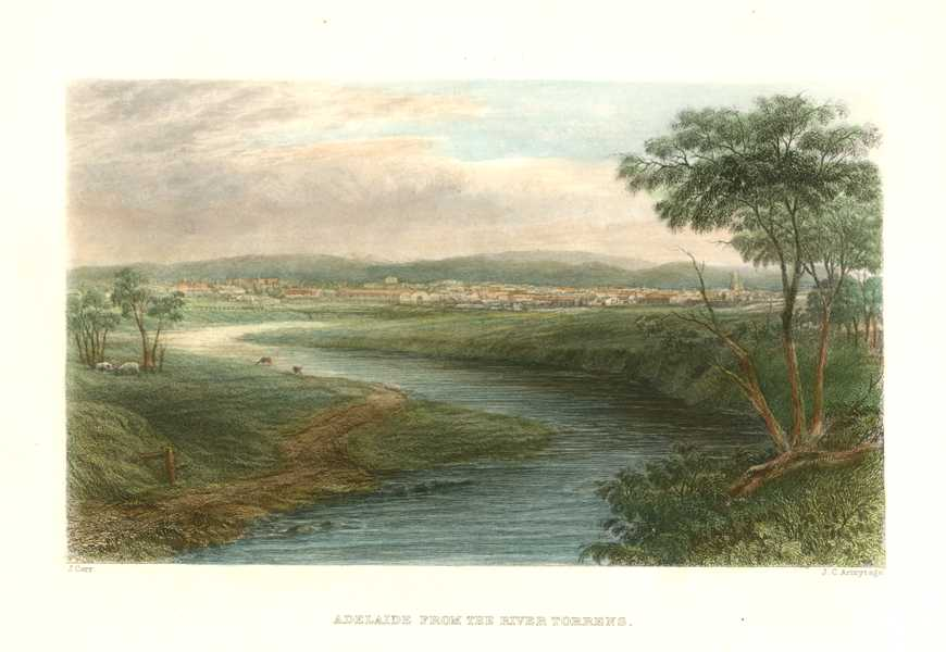Adelaide from the River Torrens. Armytage engraving c1874.
