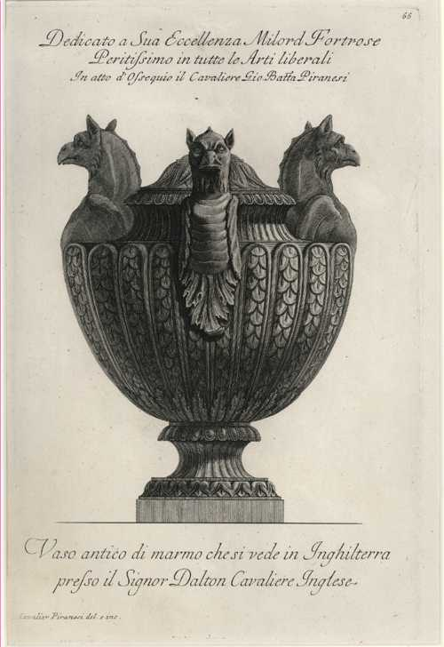 Rare original Piranesi Vase etching. Antique Print c1778.