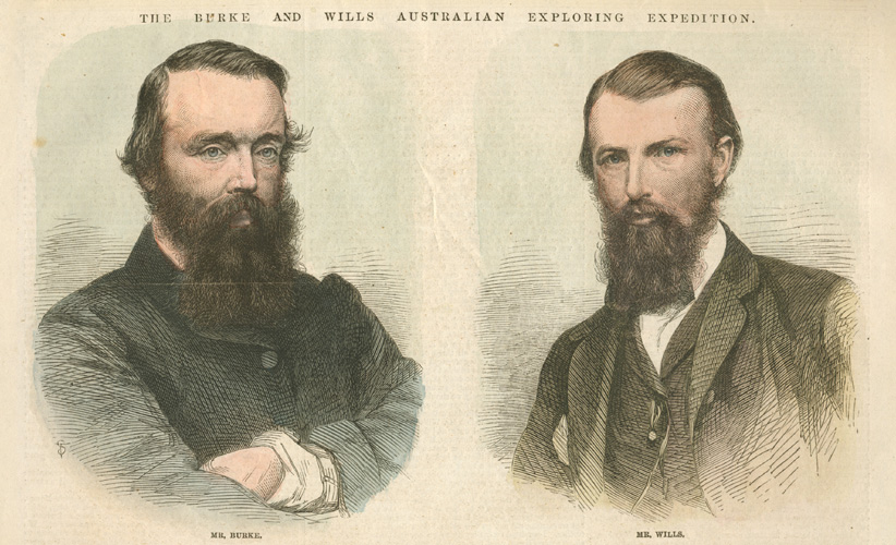 Mr Burke, Mr Wills. Australian Exploring Expedition. Engraving c1862
