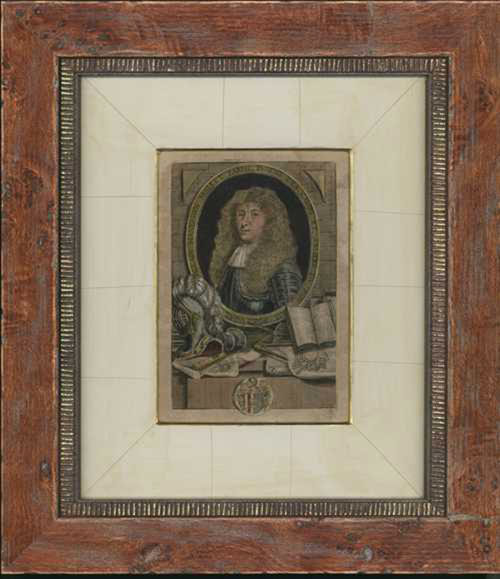 Framed 17th century portrait of Allain Manesson Mallet c1683.