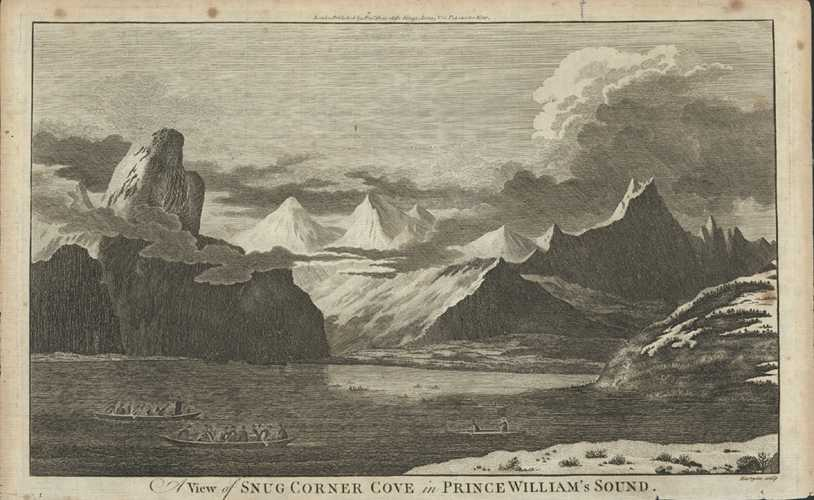 Alaska antique print. Snug Corner Cove in Prince William's Sound. Cook c1784