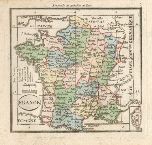 France antique map by Maire. Madame Tardieu-Desnesle c1821