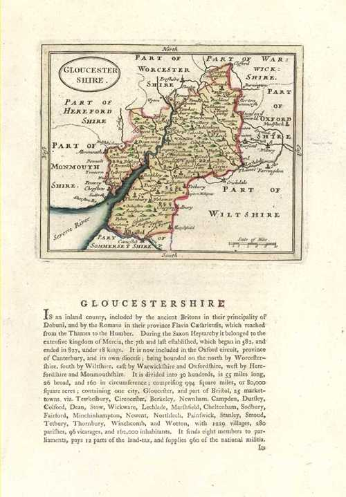 Gloucestershire Antique Map by Seller after John Speed. Published by Grose c1787