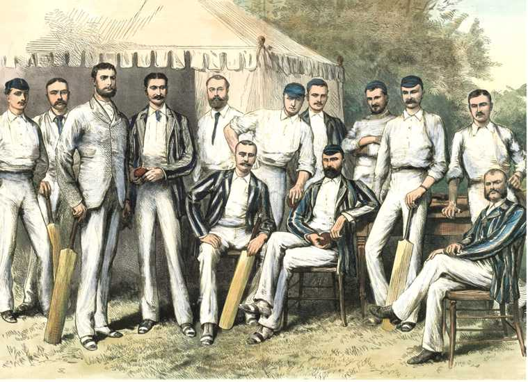 Australian Cricket Team in England in 1882. Large postcard print.
