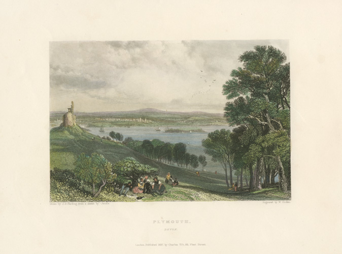 Plymouth, Devon, antique print by W. Finden after Harding & Jendle c1837