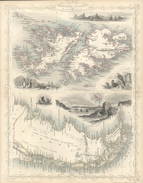Falkland Islands and Patagonia. John Tallis antique map c1851.