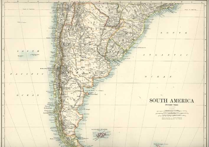 Half-Price South America (southern sheet) antique map by W. & A.K. Johnston c1886.