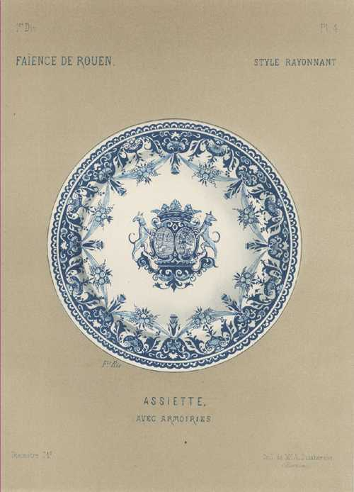 Blue and white Faience Porcelain Plate with Coat-of-Arms. c1870