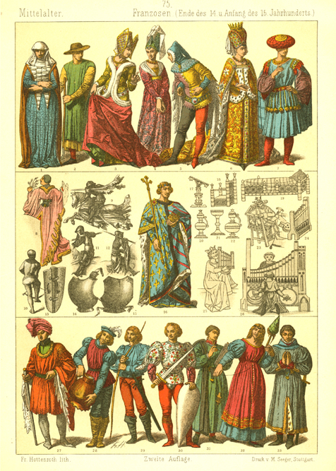 14th-15th century French Fashions. Hottenroth antique print c1886.