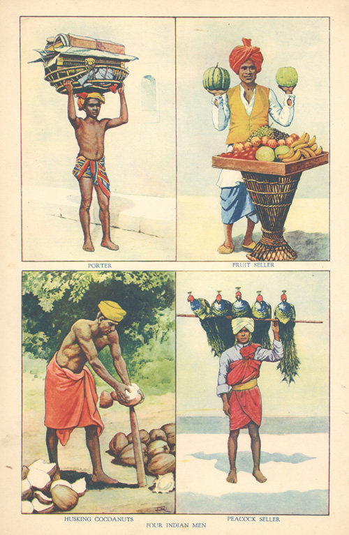 Four Indian Men. Porter, Fruit Seller, Husking Cocanuts, Peacock Seller c1890