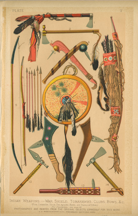American Indian Weapons - War Shield, Tomahawks, Clubs, Bows c1882.