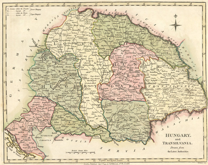Hungary & Transilvania Antique Map by R. Wilkinson c1794