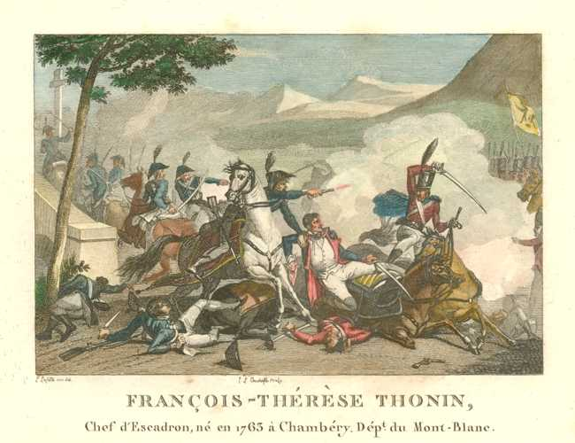 Francois-Therese Thonin. French military battle engraving c1810