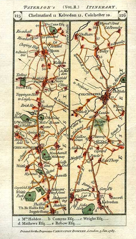 Carington Bowles Road Maps for Paterson's Itinerary c1785.