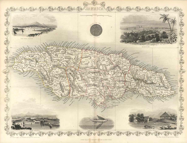 Jamaica lovely antique map by John Tallis & Company c1851.